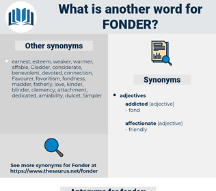 fonder, synonym fonder, another word for fonder, words like fonder, thesaurus fonder