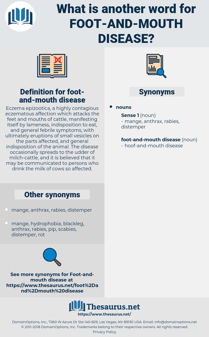 Synonyms For Foot And Mouth Disease Thesaurusnet