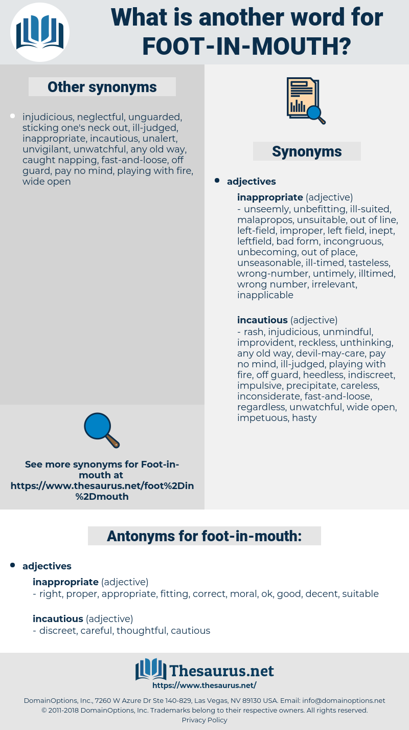 foot-in-mouth, synonym foot-in-mouth, another word for foot-in-mouth, words like foot-in-mouth, thesaurus foot-in-mouth