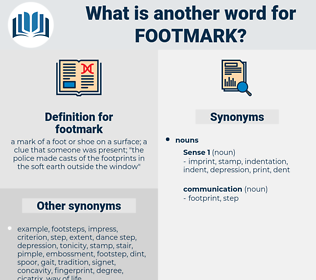 footmark, synonym footmark, another word for footmark, words like footmark, thesaurus footmark