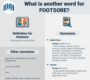 footsore, synonym footsore, another word for footsore, words like footsore, thesaurus footsore
