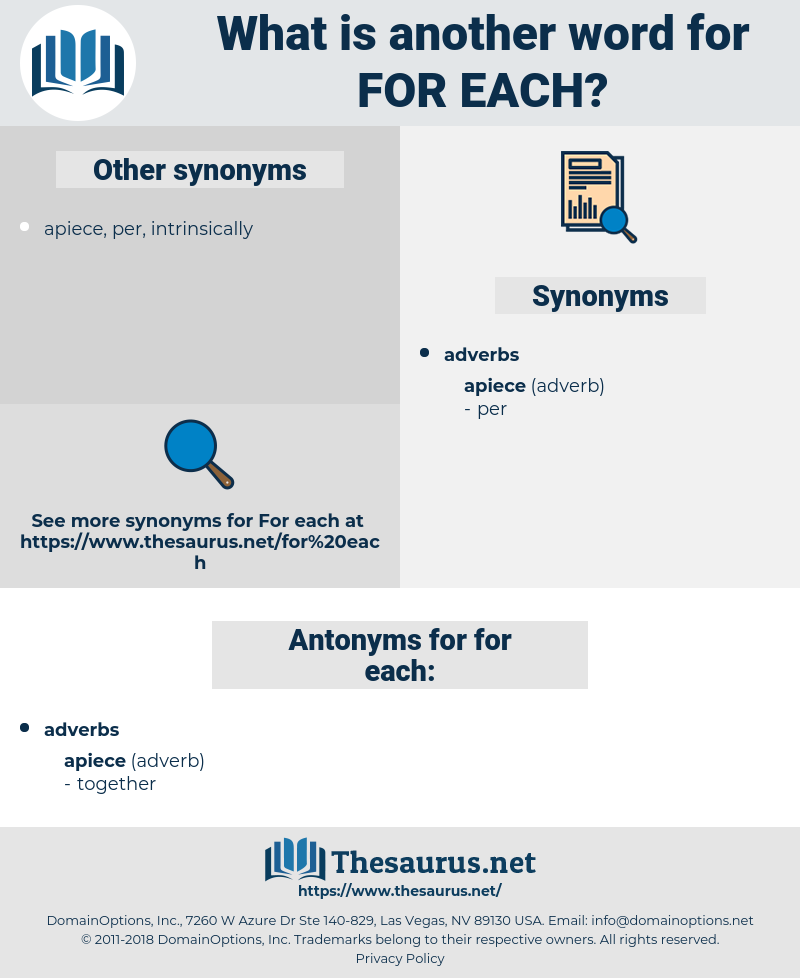 for each, synonym for each, another word for for each, words like for each, thesaurus for each