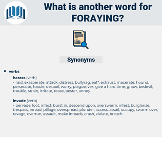 foraying, synonym foraying, another word for foraying, words like foraying, thesaurus foraying