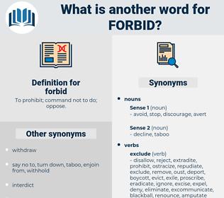 forbid, synonym forbid, another word for forbid, words like forbid, thesaurus forbid