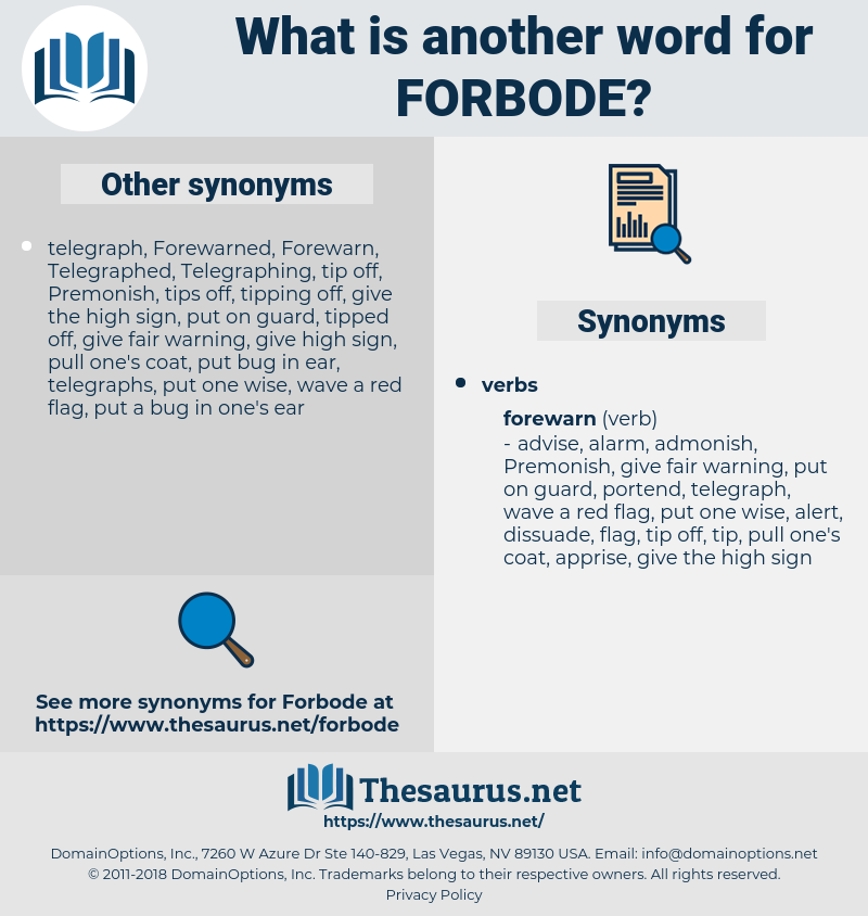 forbode, synonym forbode, another word for forbode, words like forbode, thesaurus forbode
