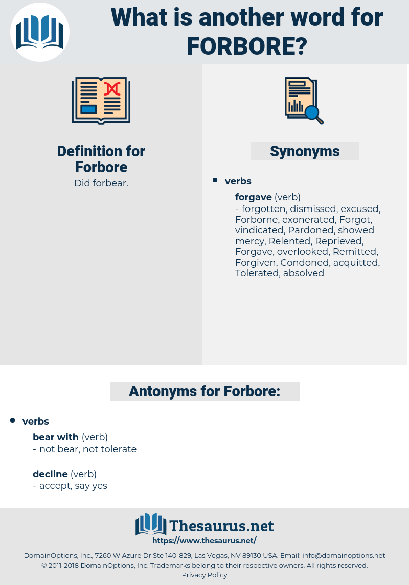 Forbore, synonym Forbore, another word for Forbore, words like Forbore, thesaurus Forbore