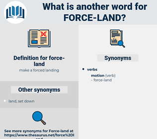 force-land, synonym force-land, another word for force-land, words like force-land, thesaurus force-land