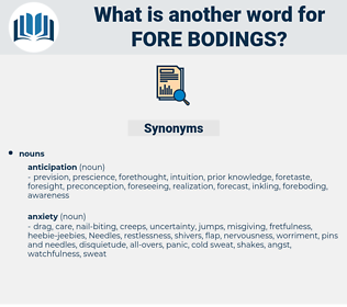 fore bodings, synonym fore bodings, another word for fore bodings, words like fore bodings, thesaurus fore bodings
