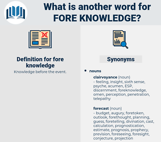 fore knowledge, synonym fore knowledge, another word for fore knowledge, words like fore knowledge, thesaurus fore knowledge