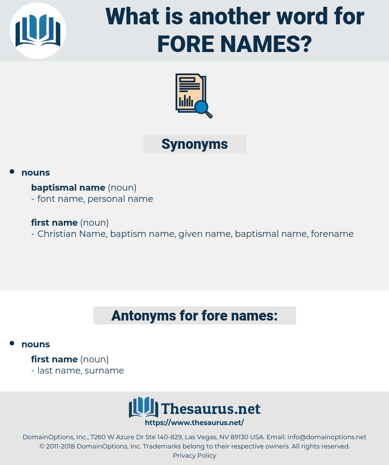 fore-names, synonym fore-names, another word for fore-names, words like fore-names, thesaurus fore-names