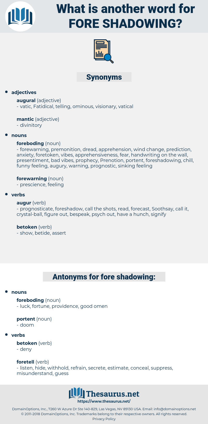fore-shadowing, synonym fore-shadowing, another word for fore-shadowing, words like fore-shadowing, thesaurus fore-shadowing