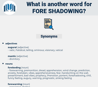 fore shadowing, synonym fore shadowing, another word for fore shadowing, words like fore shadowing, thesaurus fore shadowing