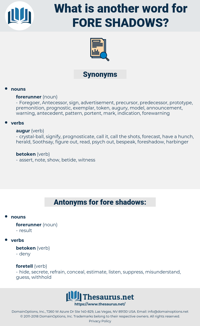 fore shadows, synonym fore shadows, another word for fore shadows, words like fore shadows, thesaurus fore shadows