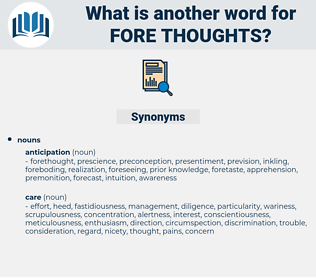 fore-thoughts, synonym fore-thoughts, another word for fore-thoughts, words like fore-thoughts, thesaurus fore-thoughts