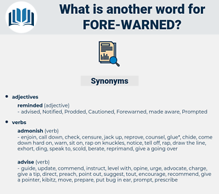 fore-warned, synonym fore-warned, another word for fore-warned, words like fore-warned, thesaurus fore-warned