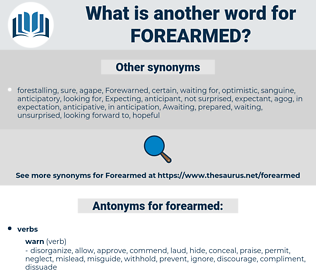 forearmed, synonym forearmed, another word for forearmed, words like forearmed, thesaurus forearmed
