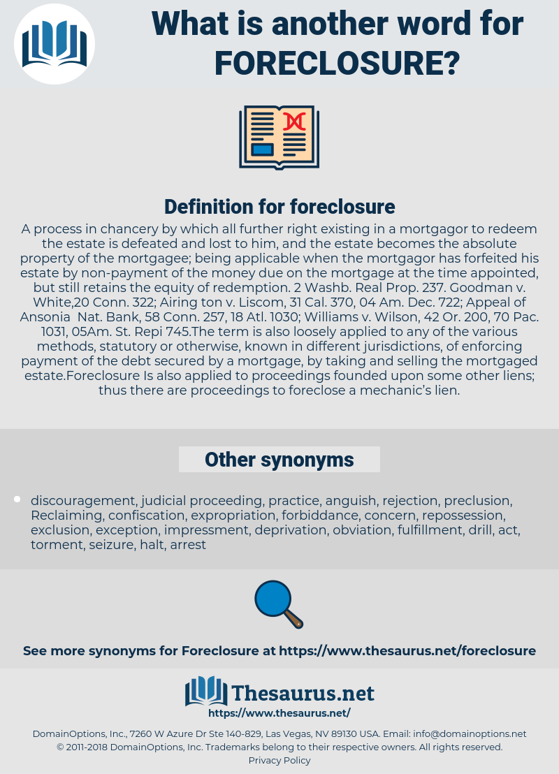 foreclosure, synonym foreclosure, another word for foreclosure, words like foreclosure, thesaurus foreclosure