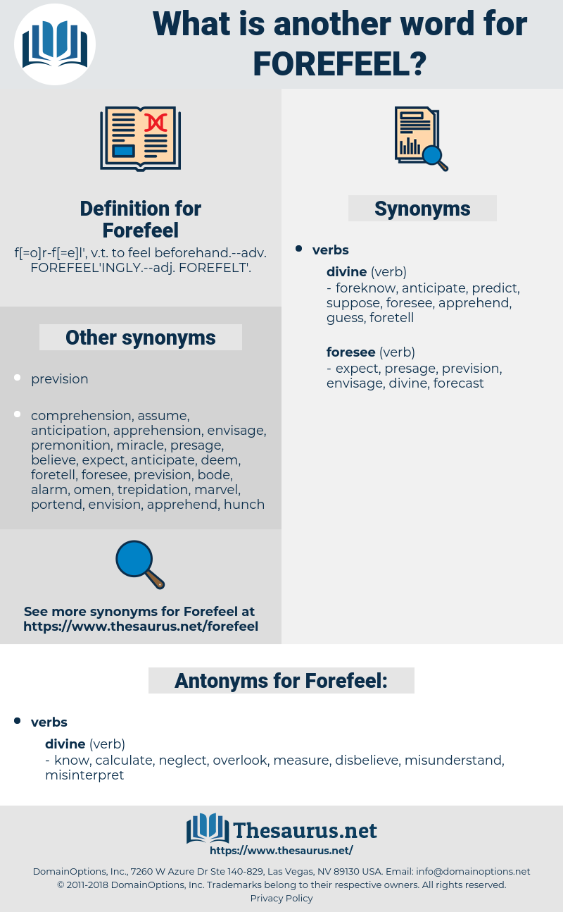 Forefeel, synonym Forefeel, another word for Forefeel, words like Forefeel, thesaurus Forefeel