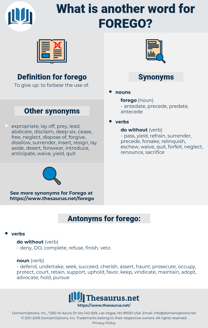 forego, synonym forego, another word for forego, words like forego, thesaurus forego