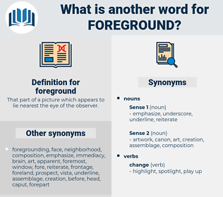 foreground, synonym foreground, another word for foreground, words like foreground, thesaurus foreground