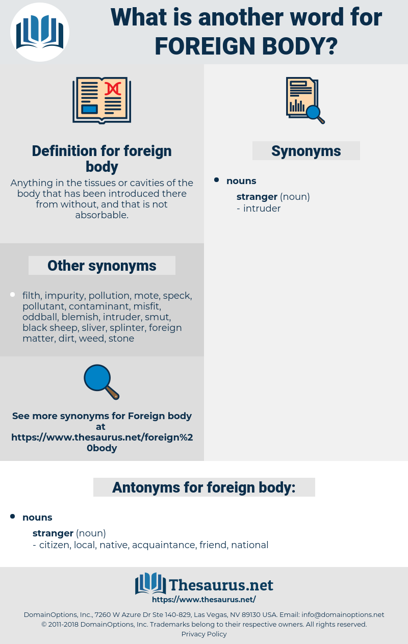 foreign body, synonym foreign body, another word for foreign body, words like foreign body, thesaurus foreign body