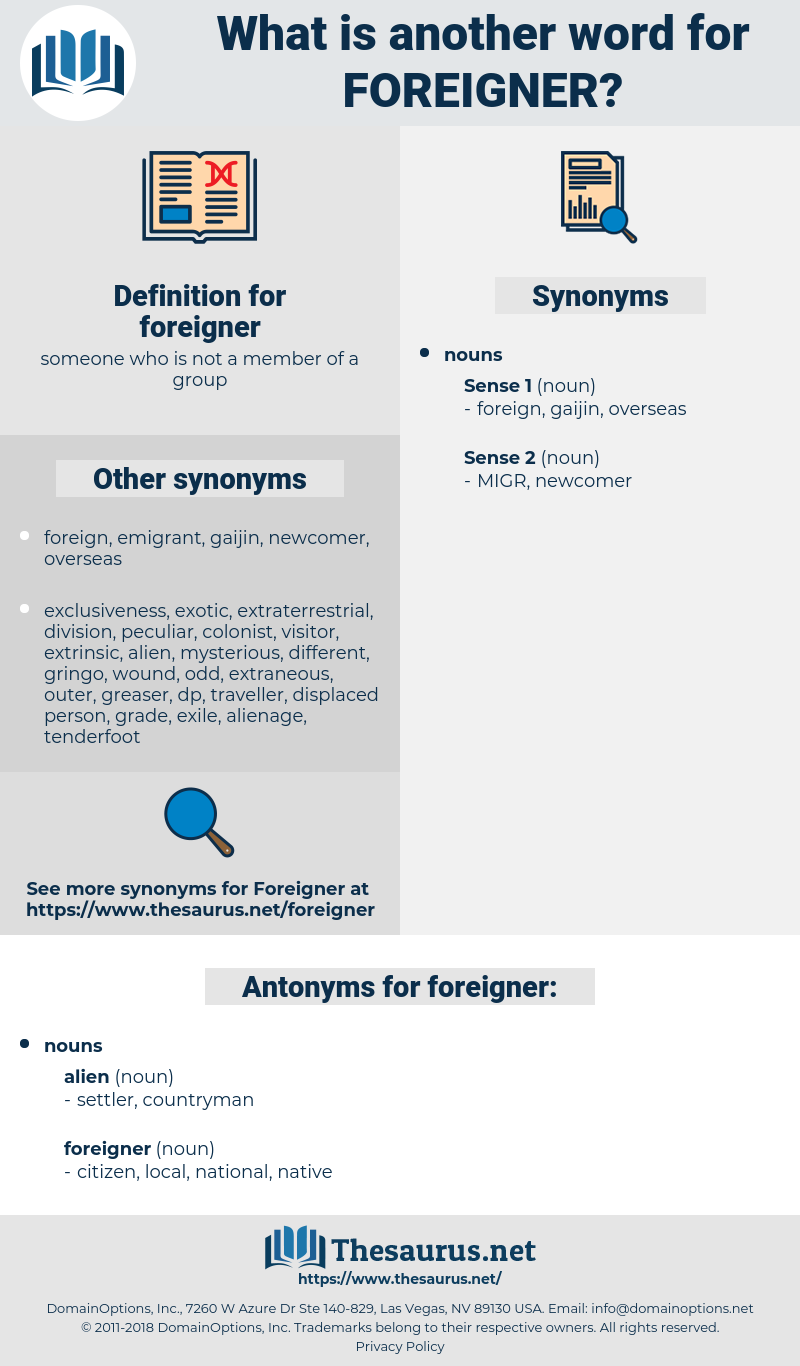 foreigner, synonym foreigner, another word for foreigner, words like foreigner, thesaurus foreigner