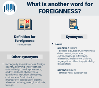 foreignness, synonym foreignness, another word for foreignness, words like foreignness, thesaurus foreignness
