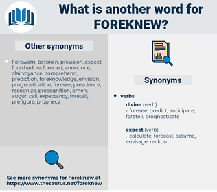 Foreknew, synonym Foreknew, another word for Foreknew, words like Foreknew, thesaurus Foreknew