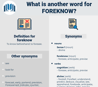 foreknow, synonym foreknow, another word for foreknow, words like foreknow, thesaurus foreknow