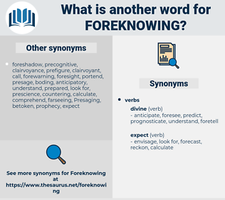 Foreknowing, synonym Foreknowing, another word for Foreknowing, words like Foreknowing, thesaurus Foreknowing