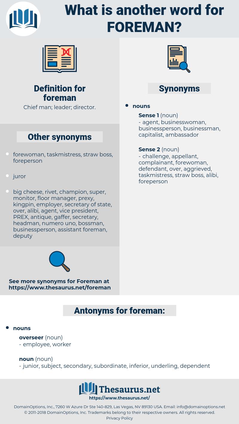 foreman, synonym foreman, another word for foreman, words like foreman, thesaurus foreman