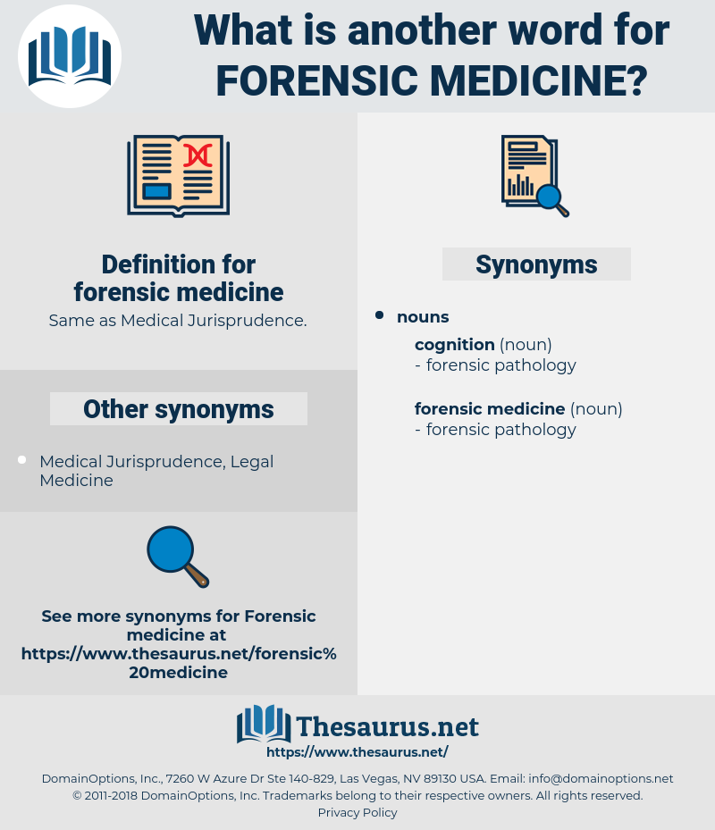 Synonyms For Forensic Medicine Thesaurus Net