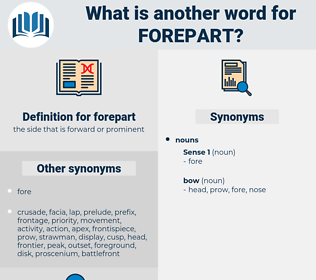 forepart, synonym forepart, another word for forepart, words like forepart, thesaurus forepart
