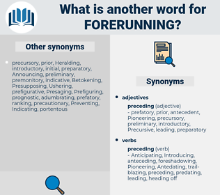forerunning, synonym forerunning, another word for forerunning, words like forerunning, thesaurus forerunning