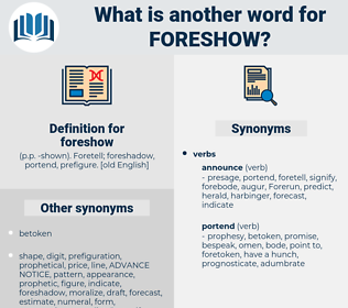 foreshow, synonym foreshow, another word for foreshow, words like foreshow, thesaurus foreshow