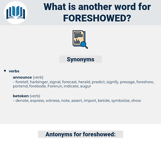foreshowed, synonym foreshowed, another word for foreshowed, words like foreshowed, thesaurus foreshowed