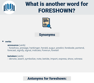 foreshown, synonym foreshown, another word for foreshown, words like foreshown, thesaurus foreshown