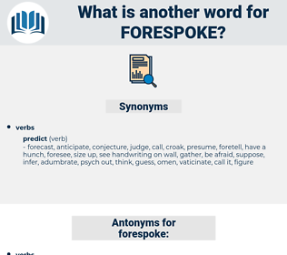 forespoke, synonym forespoke, another word for forespoke, words like forespoke, thesaurus forespoke
