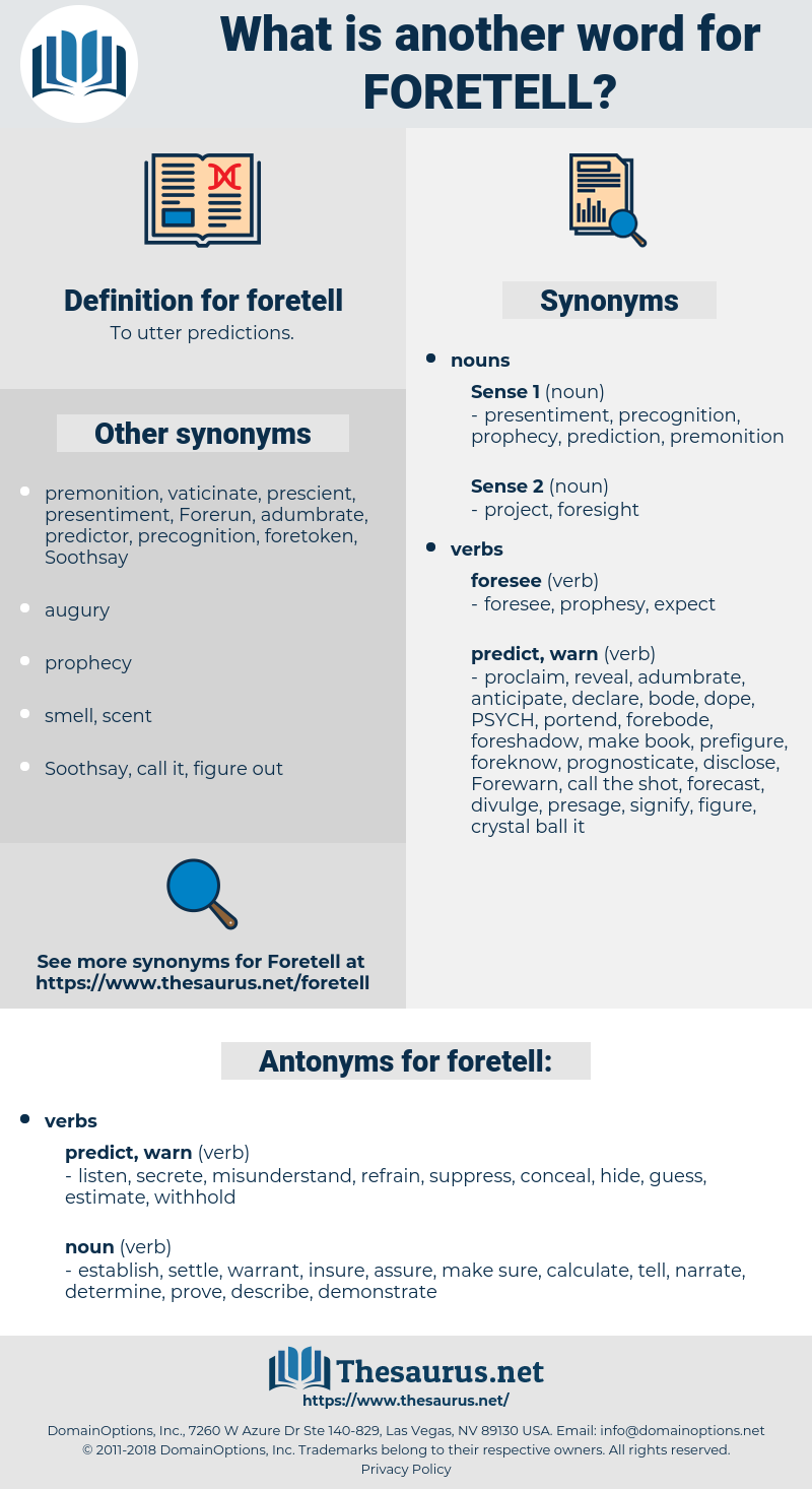 foretell, synonym foretell, another word for foretell, words like foretell, thesaurus foretell