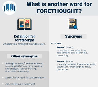 forethought, synonym forethought, another word for forethought, words like forethought, thesaurus forethought