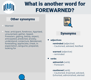 Forewarned, synonym Forewarned, another word for Forewarned, words like Forewarned, thesaurus Forewarned
