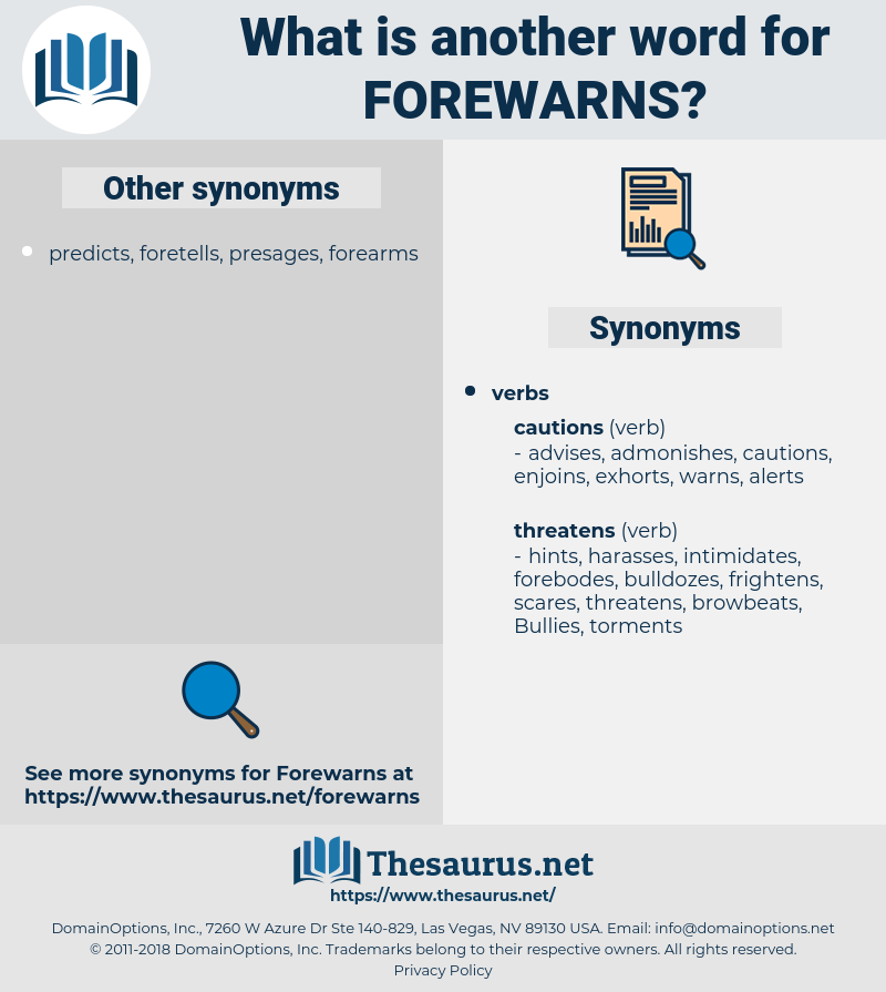 forewarns, synonym forewarns, another word for forewarns, words like forewarns, thesaurus forewarns