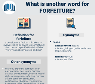 forfeiture, synonym forfeiture, another word for forfeiture, words like forfeiture, thesaurus forfeiture