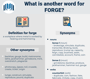 forge, synonym forge, another word for forge, words like forge, thesaurus forge
