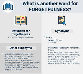 forgetfulness, synonym forgetfulness, another word for forgetfulness, words like forgetfulness, thesaurus forgetfulness