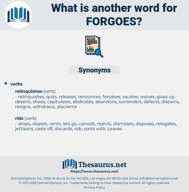 forgoes, synonym forgoes, another word for forgoes, words like forgoes, thesaurus forgoes