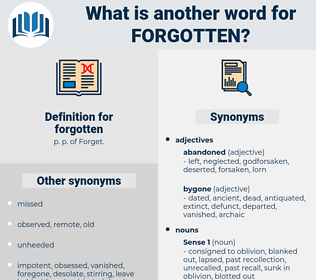 forgotten, synonym forgotten, another word for forgotten, words like forgotten, thesaurus forgotten