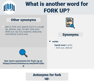 fork up, synonym fork up, another word for fork up, words like fork up, thesaurus fork up