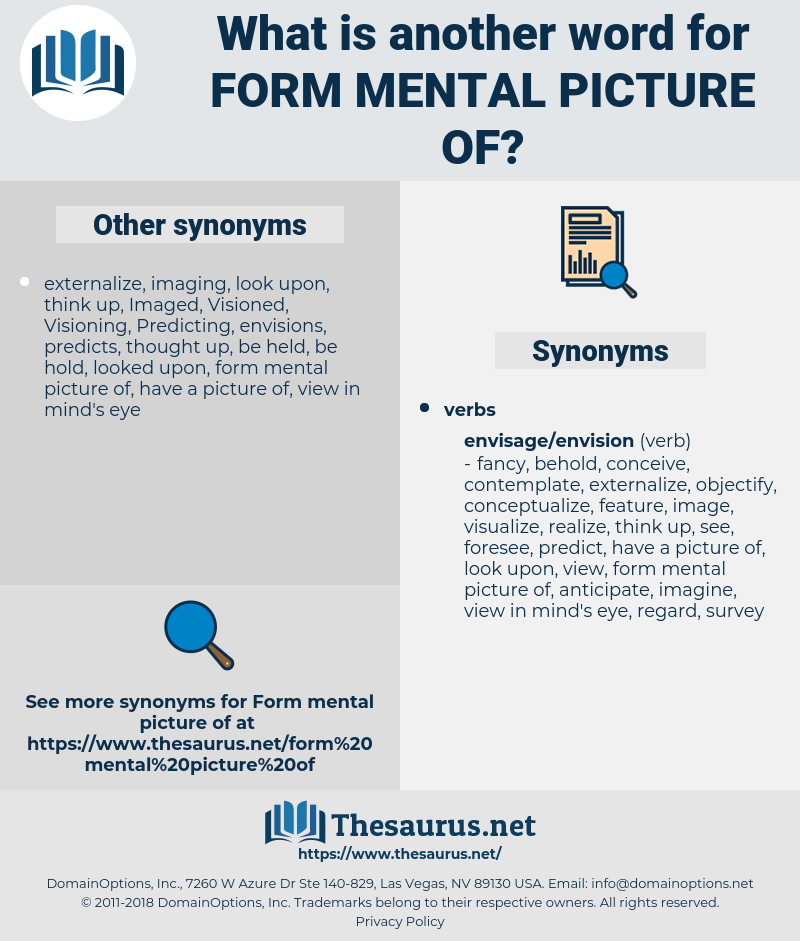 form mental picture of, synonym form mental picture of, another word for form mental picture of, words like form mental picture of, thesaurus form mental picture of