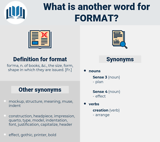 format, synonym format, another word for format, words like format, thesaurus format